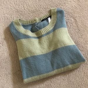 KENSIE Striped Button Back Sweater